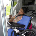 Dante in wheelchair van