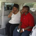 mom and son inside handicap van